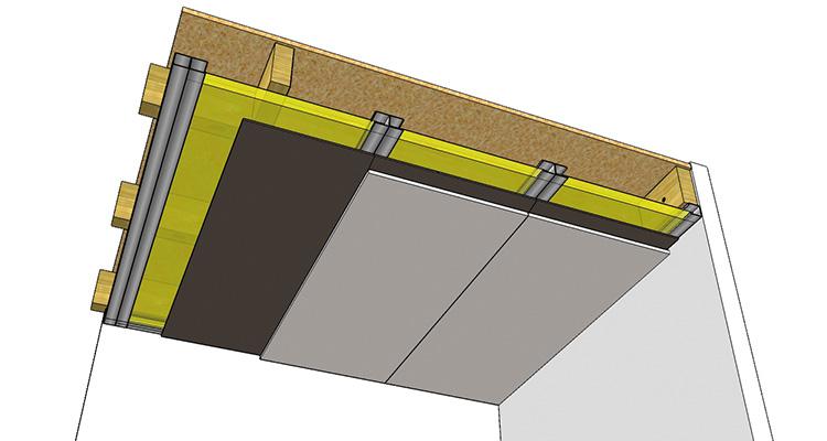Masse lourde isolation acoustique dans un faux plafonds